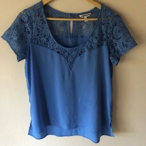 Express Powder Blue Lace Blouse M